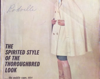 Vintage Vogue Pattern Book, October November 1963, MCM Styles, Cape, Fedora, Bootlets, Fun Ads, Buttons, Notions, Trims, Sewing Room Decor