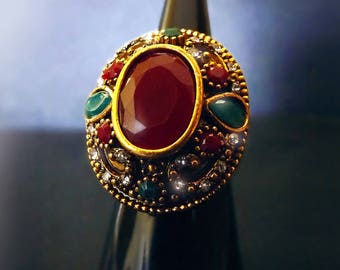 Vintage Indian Ruby ring, bohemian ring, gemstone ring, gypsy ring, huge boho ring, antique gypsy ring, gold nepalese ring, OOAK