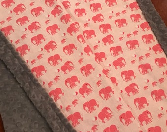 New Elephants Marching on Gray Dimple Minky Baby Blanket 1-1/4 yards