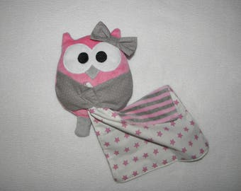 Plush owl, OWL and its square, pink and gray, soft blanket, birth gift.