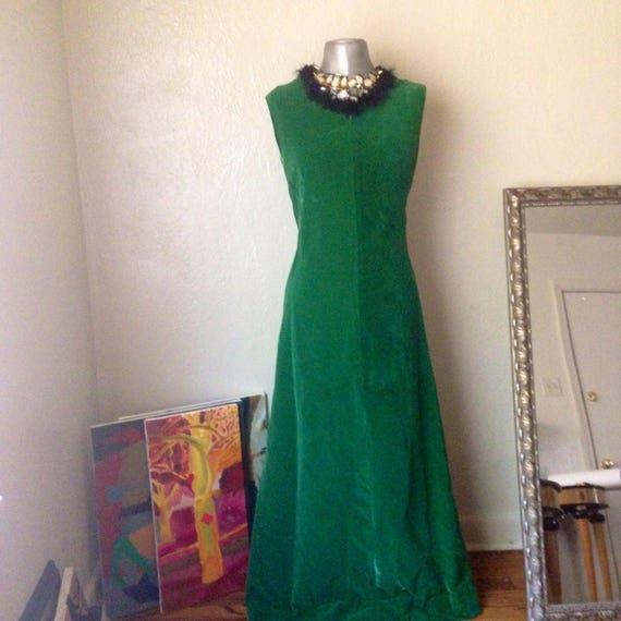 Vintage Velvet Handmade Kelly Green Maxi Dress