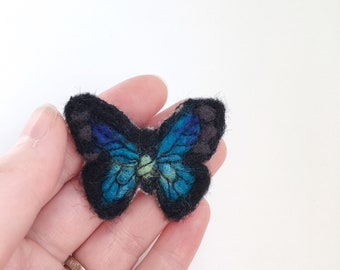 Blue butterfly brooch felted brooch pins birthday gift for her something blue needle felted animal handmade jewelry mothers day gift for mom