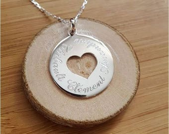 Necklace chain medal heart custom engraved silver
