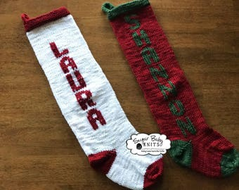 Red Hand Knit Christmas Stocking-Christmas, Holiday, Hanging Stocking, Hand Knit, Monogrammed