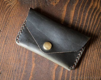 Coin pouch / wallet / business card case with snap, Horween Chromexcel leather - forest green