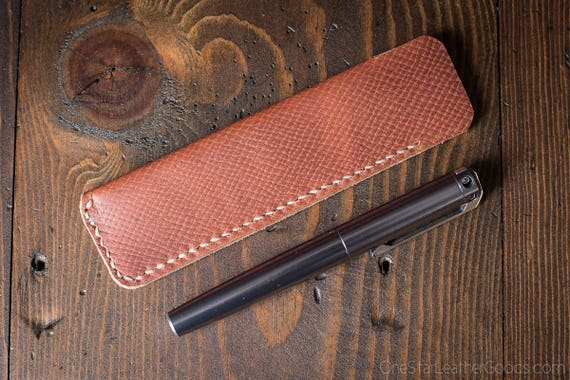 Pen Sleeve - hand stitched Horween leather - crosshatch tan
