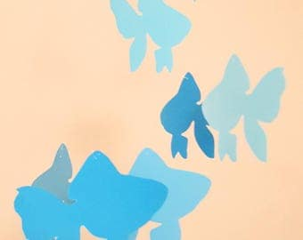 """Fish"" paper mobile blue"