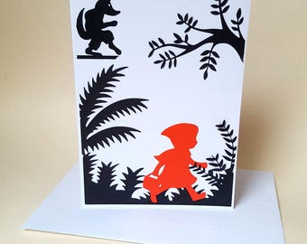 """The card """"ride the little Red Riding Hood"""" with its envelope"""