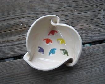 Rainbow Eye Dish - Cubicle Decor - Ceramics and Pottery - Small Triangle Dish - Trinket Dish - Rainbow Pottery - Cone Incense Dish