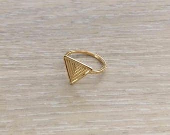 Tiny Triangle Ring, Gold Ring, Stack Ring, Knuckle Ring, Thin Ring, Chevron Ring