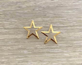 Star Post Earring, Gold Earring, Gold Studs, Star Earring