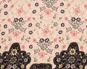 Ivory and Dusty Pink Floral Print on Wool Peach Fabric by the Yard or Swatch/ Sampe - Style P-20-WOOL-PEACH