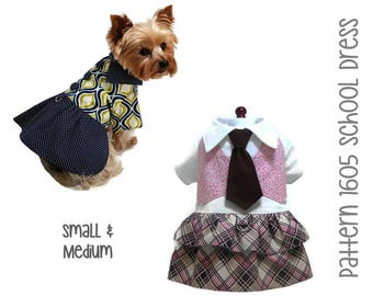 Back to School Dog Dress Sewing Pattern 1605 * Small & Medium * Dog Clothes Sewing Pattern * Small Dog Dress Pattern * Dog Harness Pattern