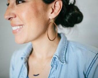 Large Walnut Wood Circle Hoop Earrings Silver Ear Wires Joanna Gaines Inspired Large Hoops Toniraecreations