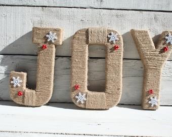 Christmas Decorations | Jute Wrapped Christmas Wall Letters | Christmas Decor | Christmas Mantle Letters