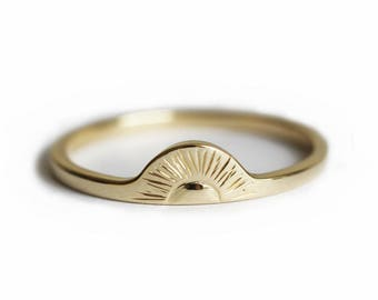 Sunrise Ring, Gold Sun Ring, 14k Solid Gold Band, Sun Ring Sterling Silver, Sunset Ring, Sun Ring Gold, Sun Ring Rose Gold, Statement Ring