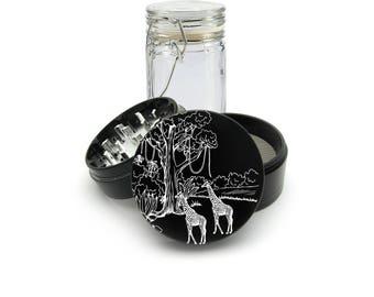 Wild African Giraffe  Laser Engraved Grinder Plus FREE Glass Jar included! 4 Piece Premium Black CNC Herb Grinder  L0284