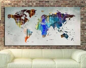 World Map Wall Art,World Map Canvas,World Map Poster,World Map Watercolor,World Map Art,Abstract Watercolor Map,Travel Map,Push Pin Map