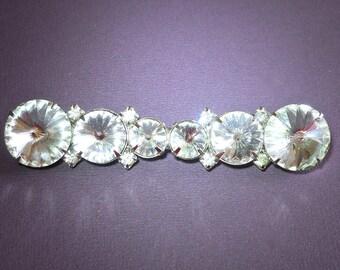 Large Clear Rivoli Bar Brooch-Pin, Margarita Crystal, Vintage 3.5 inches