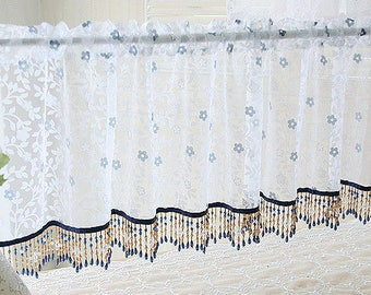 flowers sheer valances beads window curtains kitchen livingroom home deco 2 color
