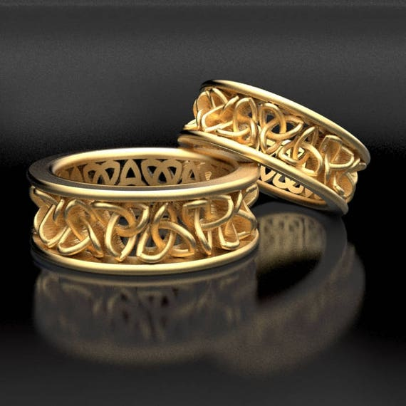 Celtic Wedding Ring Set With Cut-Through Trinity Knot Design in 10K 14K 18K Gold, Palladium or Platinum, Made in Your Size CR-200