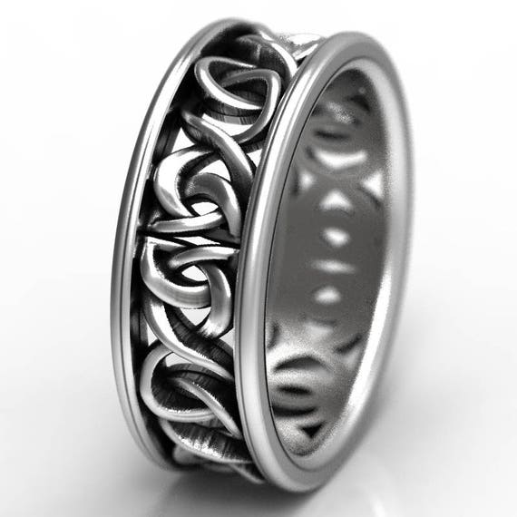 Celtic Knot Ring With Woven Dara Knotwork Design in Sterling Silver, Wedding Ring Made in Your Size CR-5006