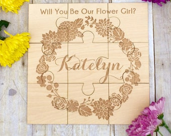 Flower Girl Puzzle Invitation, Flower Girl, Flower Girl Proposal, Asking, Wedding Invitation, Girl, Will You Be Our Flower Girl Puzzle Card