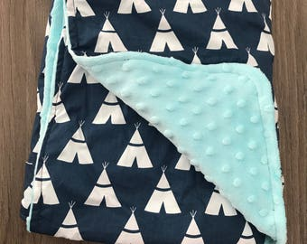 Large Boy's Baby Blanket • Blue Baby Blanket • Tipi Teepee Blanket • Baby Boy's Blanket • Boys • Blanket • Blanket • Baby Gift • BizyBelle