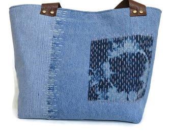 Small Denim bag, womans purse, fabric tote, everyday sashiko bag