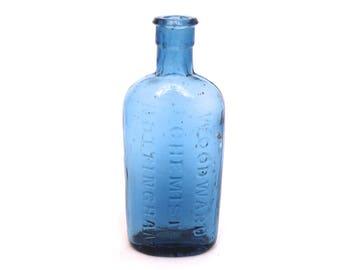 Victorian Woodward Chemist Nottingham Bottle, Blue Apothecary Bottle, Old Pharmacy Bottle, Apothecary Medicine Bottle, Glass Chemist Bottle