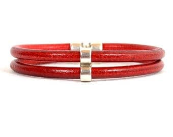 10% Off Red Leather Double Strand Bracelet with Double Circle Slider and Double Strand Magnetic Clasp (5R-502)