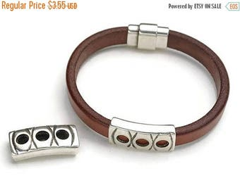 ON SALE Antique Silver Open Circles Slider for use with 10x5mm Cord - Licorice Leather (Qty. 1)