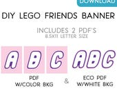 Custom LEGO Friends Printable Party Letters & Numbers DIY Printable Digital File