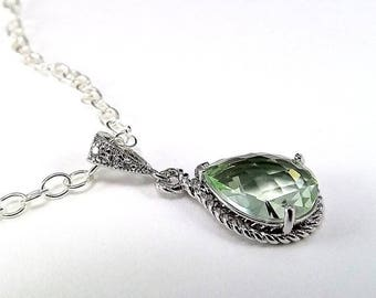 END Of SUMMER SALE Sterling Silver Necklace Green Chrysolite Glass Pendant