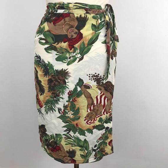 1940s style sarong wrap skirt palm novelty print tiki cocoa 1980s UK 12 14 1950s polynesian