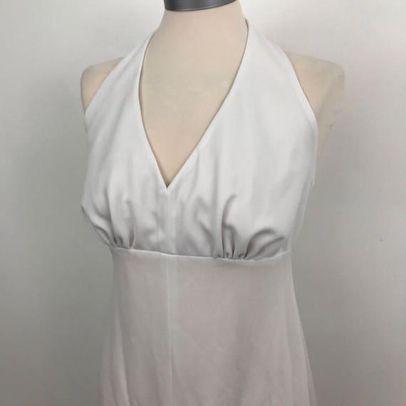 White maxi dress long 1970s halter neck style  long flared skirt disco gown glam UK 10 monroe 70s bridal alternative wedding