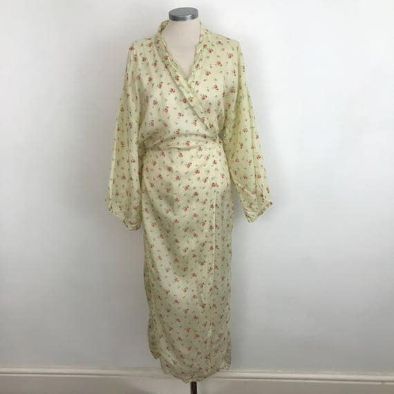 1920s satin robe vintage rose print dressing gown 1930s lingerie budoir nightwear rosebud wrap gown UK 10 12 acetate