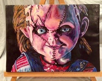 "CHILD'S PLAY     Hand Painted     Chucky   Acrylic on Canvas    12"" x 16"""