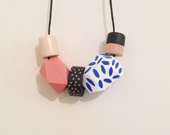 Handpainted Wooden Bead necklace | modern blue and dusty pink | READY TO SHIP