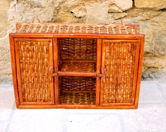 Small vintage rattan shelf