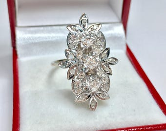 ONE OF A KIND Diamond Floral Ring l 14KT White Gold Diamond Ring l Multistone Ring l Statement Ring