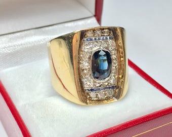Antique 1950's Sapphire & Diamond Ring l 14KT Yellow Gold Sapphire Diamond Ring l Statement Ring l Multistone Ring