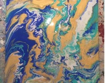 custom acrylic fluid art painting