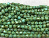 50 Green Picasso Czech Faceted Glass Beads 4mm