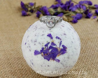Surprise Sterling Silver Ring Bath Bomb- Anniversary Gift Lavender Botanical - Aroma- Aromatic- Therapy Bath Bombs - MommyIsCrafty