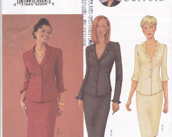 Butterick 6706 Vintage Patttern Womens Lined Straight Skirt and Fitted Lined Top with Princess Seams Size 12,14,16 UNCUT