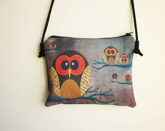 Shoulder bag, crossbody bag, printed bag, little bag, owls bag