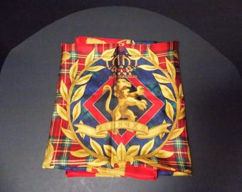 100 % Silk Korean Scarf Bright Red Blue Green Black and Gold Compagnie Internationale Express Scarf  34.5 X 34.5 inches table cover