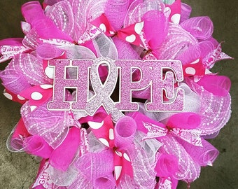 Cancer awareness wreath