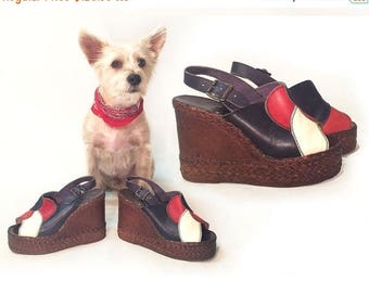 20% OFF FLASH SALE Sale | Vintage 1960's 1970's Platform Disco Leather Sandals || Hippie Boho Cork Glam Psychedelic Slingback Wedge || Space